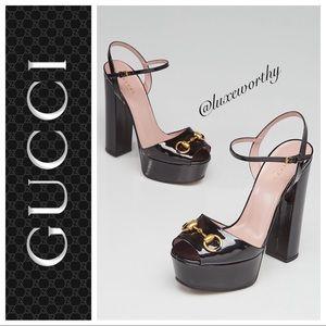 Gucci Claudie Patent Platform Sandal, Black